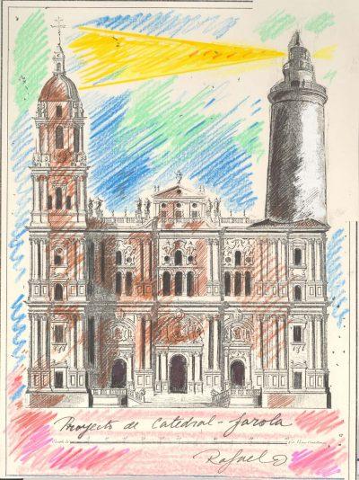Proyecto de catedral-farola. Collage. s.f.
